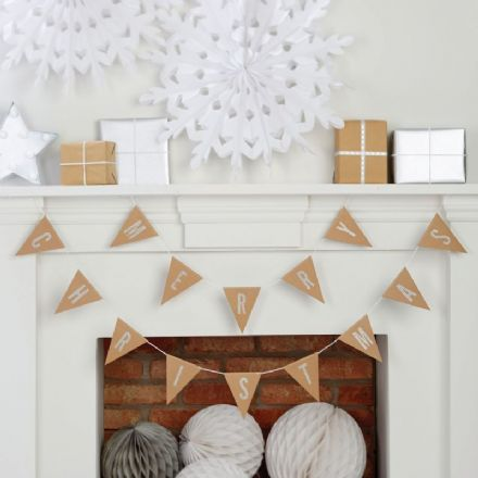 Merry Christmas Kraft & Silver Glitter Bunting